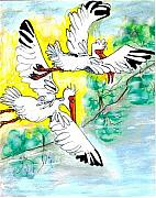 Ibis Drawings Metal Prints - Friendship Metal Print by Carol Allen Anfinsen