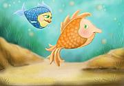 Fish Print Framed Prints - Friendship Fish Framed Print by Hank Nunes