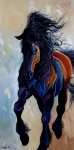 Expressionist Horse Framed Prints - Friesian Framed Print by Angela Hartsog