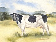 Friesian Paintings - Friesian Cow by Sandra Phryce-Jones