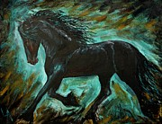 Paintng Framed Prints - Friesian Frolic Series 1 Framed Print by Leslie Allen
