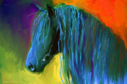Svetlana Novikova Digital Art Prints - Friesian Horse painting 2 Print by Svetlana Novikova