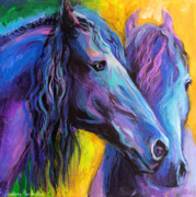 Vibrant Drawings Framed Prints - Friesian horses painting Framed Print by Svetlana Novikova