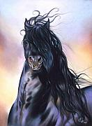Horse Pastels Posters - Friesian spirit Poster by Elena Kolotusha