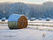 Hay Bales Paintings - Frigid Morning Bales by Bruce Morrison