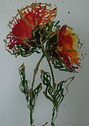 Carnation Painting Metal Prints - Frilly Carnation Metal Print by Jan Soper