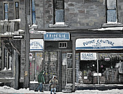 Montreal Streets Painting Framed Prints - Friperie Point Couture Pte St. Charles Framed Print by Reb Frost
