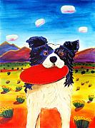 Happy Dog Posters - Frisbee Dog Poster by Harriet Peck Taylor