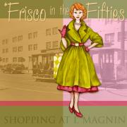 Olive Green Mixed Media Posters - Frisco in the Fifties Shopping at I Magnin Poster by Cindy Garber Iverson