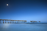 Sea Moon Full Moon Photo Metal Prints - Frisco Pier Cape Hatteras Outer Banks NC - Crossing Over Metal Print by Dave Allen