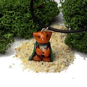 Animals Jewelry Originals - Frodo Kitty Hugging the One Ring Lord of the Rings Parody Necklace by Pet Serrano