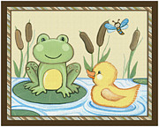 Shower Gift Posters - Frog and Duck Poster by Cheryl Lubben