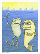 Optimistic Drawings - Frog and Fish  by Jennifer Latham Robinson
