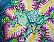 Wildlife Art Drawings Posters - Frog and Flower Poster by Nick Gustafson