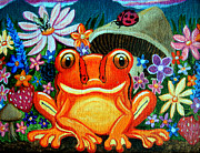 Amphibians Originals - Frog and flowers by Nick Gustafson
