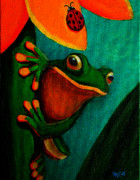 Amphibians Posters - Frog and ladybug Poster by Nick Gustafson