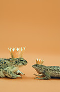 Frog Prince Prints - Frog And Lizard Wearing Crowns Print by Walter B. McKenzie