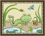 Shower Gift Posters - Frog and Snail Poster by Cheryl Lubben