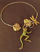 Frog Jewelry - Frog choker necklace by Connie Colten