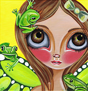 Quirky Framed Prints - Frog Fairy Framed Print by Jaz Higgins