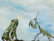Claw Painting Metal Prints - FROG FLY and MANTIS Metal Print by Fabrizio Cassetta