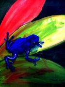 Rain Painting Framed Prints - Frog on Leaf Framed Print by Mike Grubb