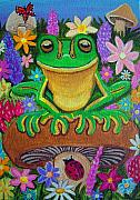 Smiling Painting Posters - Frog on Mushroom Poster by Nick Gustafson