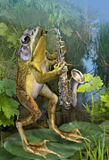 Nature Scene Art - Frog plying saxophone  by Gina Femrite