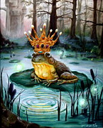 Whimsical Frogs Posters - Frog Prince Poster by Heather Calderon
