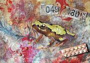 Nursery Rhyme Mixed Media Metal Prints - Frog Prince Metal Print by Jennifer Kelly