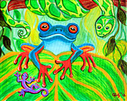 Animals Paintings - Frog Snake and Gecko in the Rainforest by Nick Gustafson