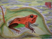Lilly Pond Paintings - Frog by Spencer  Joyner