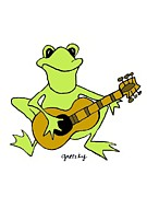 Gretzky Prints - Frog with guitar Print by Gretzky