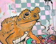 Drips Paintings - Frog with Linguine and Meatballs by Jess Lawrence