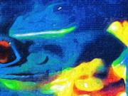 Popart Painting Prints - Froggie Got The Blues Print by Deborah MacQuarrie