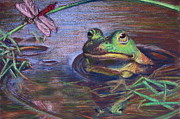 Amphibians Pastels - Froggy Anticipation by Barbara Richert