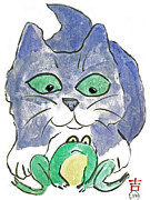 Pictures Of Cats Prints - Froggy Print by Ellen Miffitt