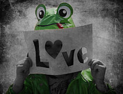 Love Hearts Prints - Froggy Love Print by Larysa Luciw