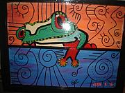 Antique Glass Art - Froggy by Nikki Campbell