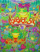 Wildlife Art Drawings Prints - Frogs and Mushrooms Print by Nick Gustafson