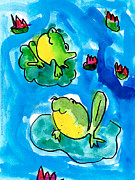 Smiling Painting Posters - Frogs Poster by Elyse Bobczynski Age Five