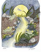 Full Moon Drawings Prints - Frogs in the Night Print by Judy Cheryl Newcomb