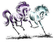Wild Horse Drawings - Frolicking - Wild Horses Print color tinted by Kelli Swan