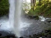 Columbia River Photos - From Behind Ponytail Falls by Charles Robinson