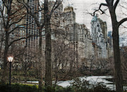 New York Photos Posters - From Central Park Poster by Kathy Jennings