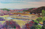 River View Pastels Prints - From King Phillips Rock Print by Sid Solomon