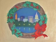 Christmas Symbols Posters - From My Town To Yours Poster by Pat Neely