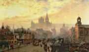 Cityscapes Paintings - From Pentonville Road Looking West by John OConnor