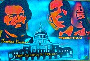 Barack Obama Painting Framed Prints - From Slavery to Freedom Framed Print by Tony B Conscious