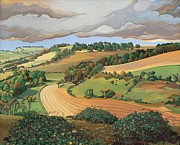 Ploughed Prints - From Solsbury Hill Print by Anna Teasdale